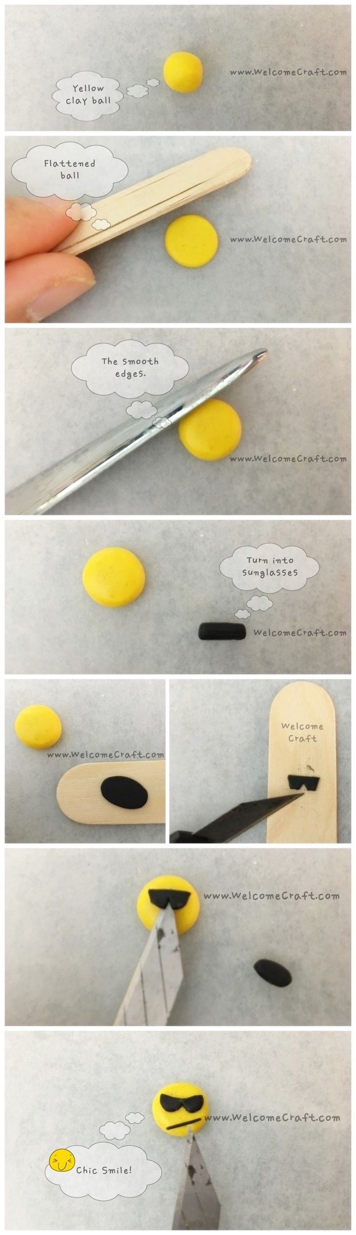 How to make Clay Emoji step by step tutorial Instruction