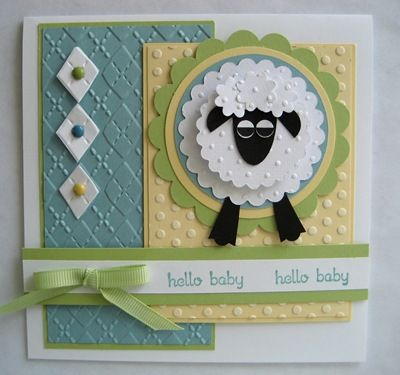 Embossing Folders and Punch art lamb - too cute! Baby Shower
