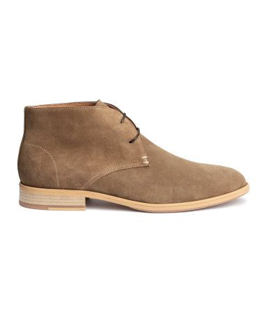 Premium quality suede lace-up desert boots with rubber soles. | H&M For Men