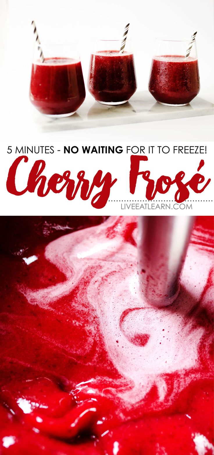 This cherry rose slushie recipe is an easy way to make INSTANT frosé (you know, frozen rosé)! You need a bottle of rosé, frozen cherries, lemon, and honey. It's a healthy, refreshing, and flavor-packed alcoholic beverage idea for summer that's ready in just 5 minutes. // Live Eat Learn