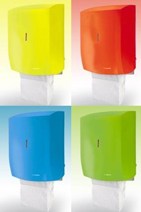 Coloured paper towel cabinets - fantastic in any nursery washroom or baby changing room.