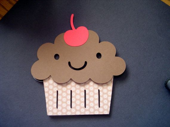 Cupcake Card - Cupcake Shaped Card - Three Different Designs - Kids Cards - Cut out Cards - Child's Birthday Card