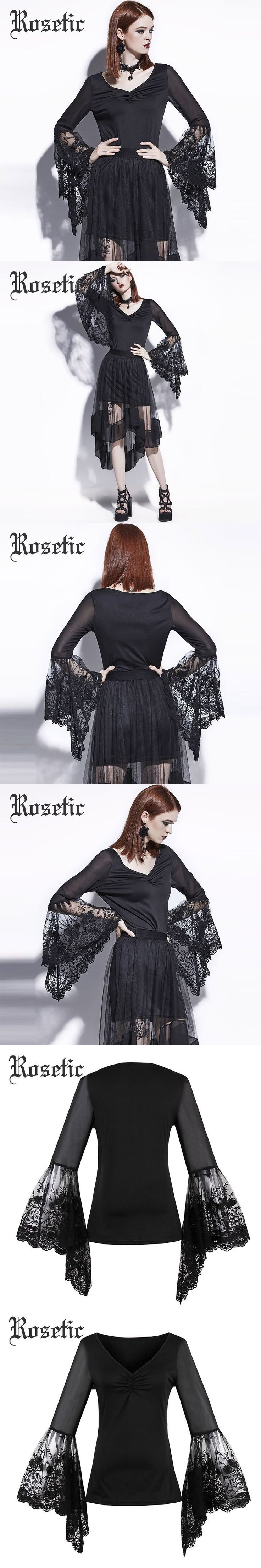 Rosetic Gothic Blouse Black Lace Flare Sleeve Slim Women Autumn Casual Shirts Fashion Goth Sexy Young Girl Tops Gothic Blouses