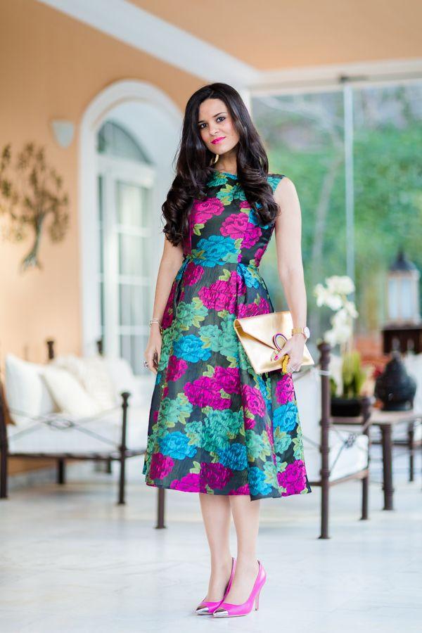 Look para un bautizo en invierno lady dress vestido de flores de invitada 2016 Crimenes de la Moda blog