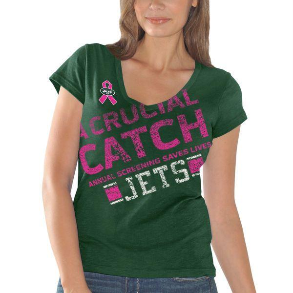 New York Jets Women's Breast Cancer Awareness Crucial Catch Fanfare T-Shirt - Green - $12.99