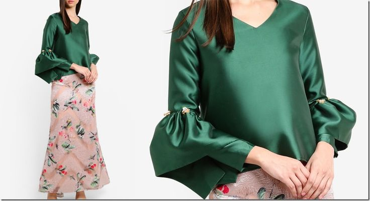 green-structured-bell-sleeve-top