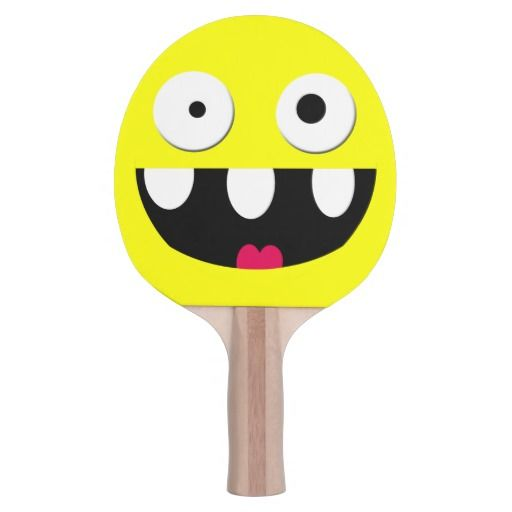 funny silly cartoon smiley face ping pong paddle #tabletennis #pingpong #kids