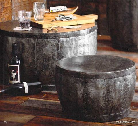 Roost Barrique Low Table & Stool - Inspired by wine barrels, this dark, galvanized steel adds an industrial feel to the timeless silhouette to your decor. This low table is suitable for indoor and outdoor use. When left outdoors, they will weather to a rusty patina.– Modish Store