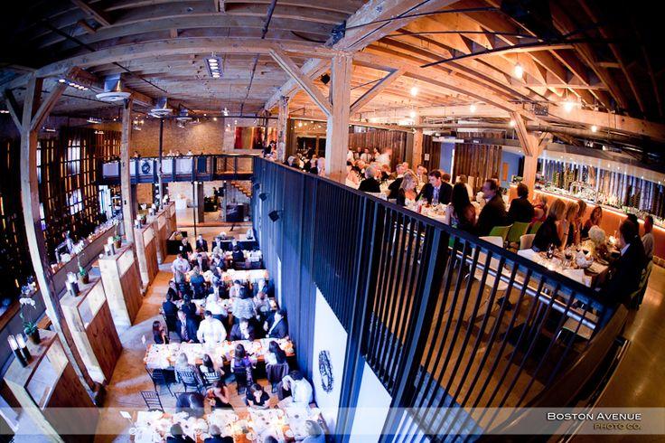Boiler House wedding, love the dramatic high ceilings