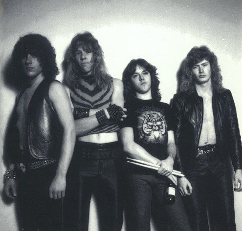 Early Metallica with Ron McGovney and Dave Mustaine alongside Lars Ulrich and James Hetfield