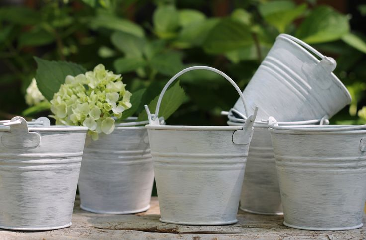 Set of 12 Favor Pails, Tins, Buckets For Rustic Wedding Decoration, Flowers, Baby Showers, Or Birthdays, Custom Color Choice. $98.00, via Etsy.