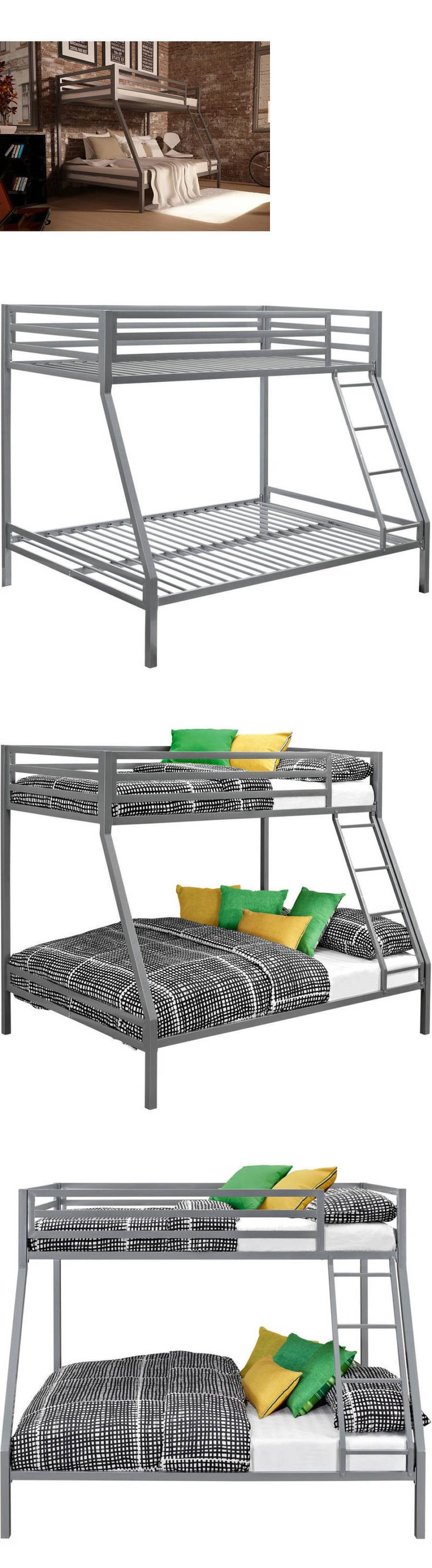 Kids Furniture Twin Over Full Bunk Bed Silver Metal Ladder Kids Bedroom Furniture Beds Frame
