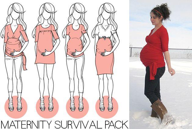 * 4 patrons pour femme enceinte:  un cache-coeur, une robe, une jupe, un tee-shirt pour 45 dollars de Megan Nielsen : le Maternity Survival Pack - onpeut aussi acheter séparément.