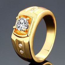 Ajojewel Brand # 8-10 New 100% Real 18K Gold Plated Jewelry Luxury Men's Rings Top Quality Fashion Male El Anillo Unico