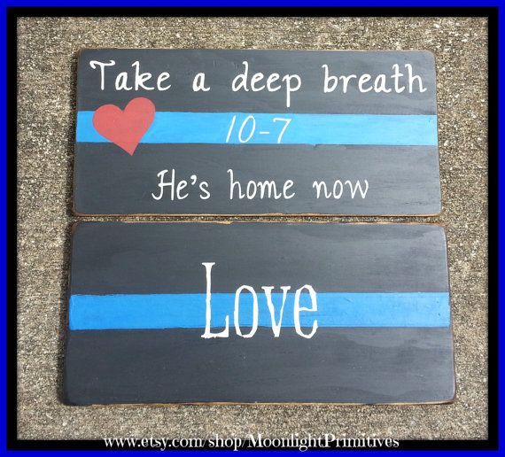 Police Thin Blue Line He's Home Now Wooden by MoonlightPrimitives, $40.00