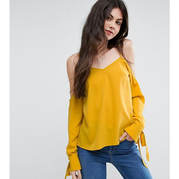 ASOS TALL Cold Shoulder Top With Cuff And Tie (42 AUD) ❤ liked on Polyvore featuring tops, yellow, spaghetti-strap top, v neck tops, yellow cami top, camisole tops and yellow top