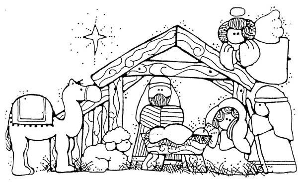 Nativity, Jesus Nativity in Cartoon Depiction Coloring Page: Jesus Nativity In…