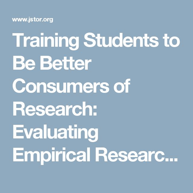 Training Students to Be Better Consumers of Research: Evaluating Empirical Research Reports