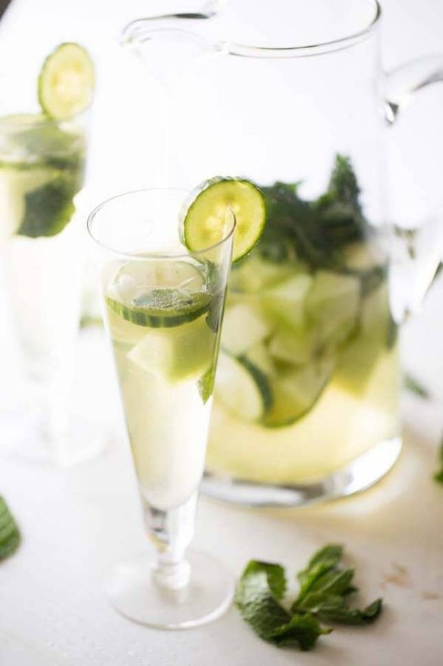 Sip on this yummy Cucumber Melon White Sangria this summer.