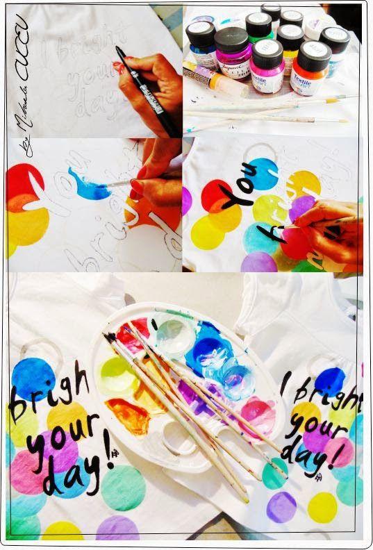 Bright day - pictura manuala tricouri set mama si fiica!