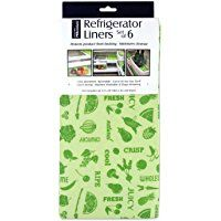 """DII  Washable, Non Adhesive Refrigerator Bins and Shelf Liners, 12 by 24"""", Set of 6 - Green Dots"""