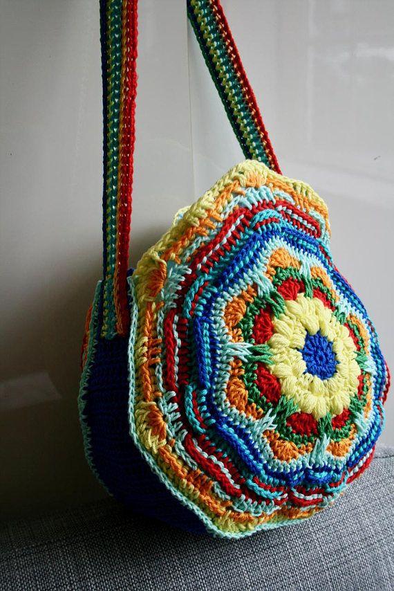 Crochet Pattern Bohemian Mandala Purse Crochet Color Bag Pattern