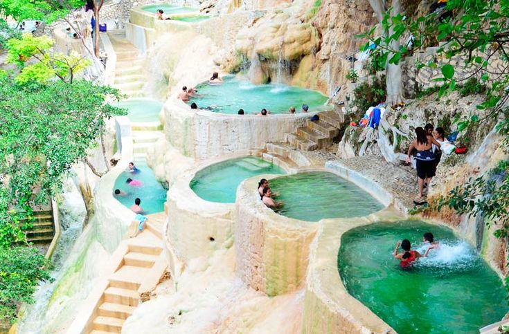 Grutas de Tolantongo, This remarkable assemblage of natural and man-made hot springs features a number of pools as well as a cave from where the hot springs flow. This is nature at its finest as a warm-bath paradise in the middle of absolutely no where in the mountains of Mexico.