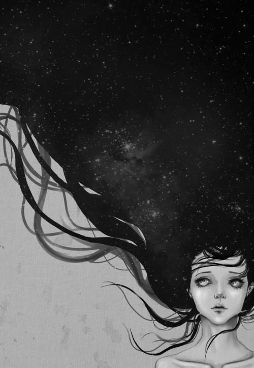 Hair like the night sky.