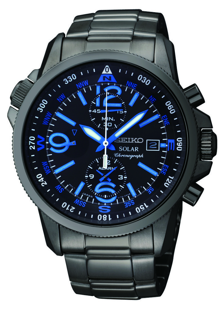 Seiko Solar Watch, Solar Alarm Cronograph, with Black ion finish and blue accents, SSC079  www.SeikoUSA.com