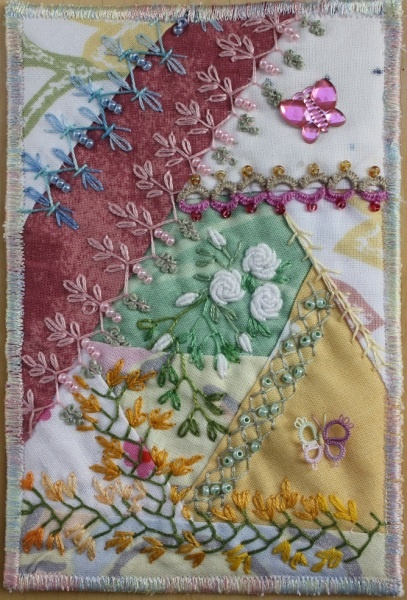 I ❤ crazy quilting & ribbon embroidery . . . Flower greetings to my mother in hospital. ~By Ritva Peltola