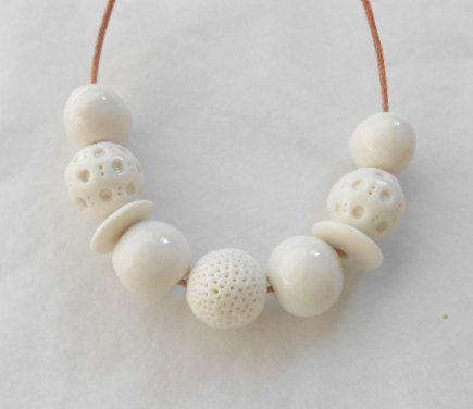 White Ceramic Beads White Porcelain Bead Set by Balelaceramics, $21.00