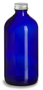 Specialty Bottle - 16 oz Cobalt Blue Boston Round Glass Bottle with Silver Cap, $1.65 (http://www.specialtybottle.com/glass-bottles/blue-boston-rounds/silver-caps/16oz-brb16s)
