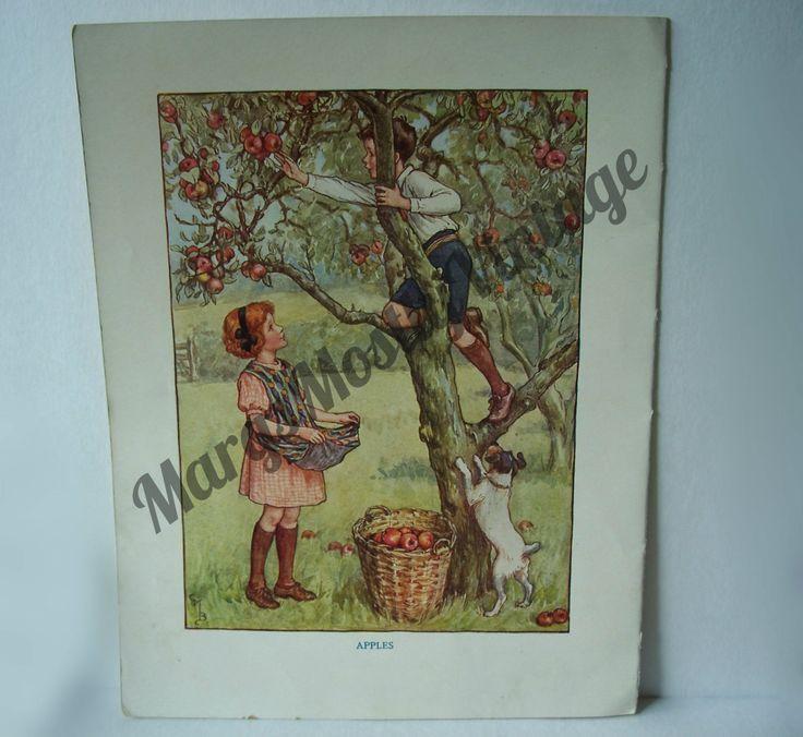 1930 British Picnic Story Book Paper Ephemera Children's Wall Decor Scrapbooking by MargsMostlyVintage on Etsy