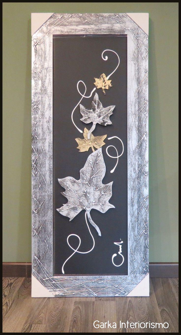 Cuadro decorativo en tonos negros, grises y dorados con motivo otoñal! Un cuadro para cualquier rincón de tu hogar...y darle ese toque personal!