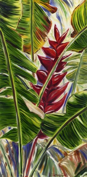 "Oil Painting on Gallery Wrapped Canvas, 18""x36"", SOLD, prints available    This crimson  red tropical heliconia flower painting has a very dynamic composition. This series of tall tropical flower paintings were my most popular series last year. Collectors could display a single painting or they could hang them in groups of multiples."