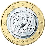 This €1 coin from Greece features an owl image copied from a 5th century coin from Athens.