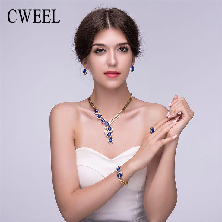 Cweel baru perhiasan pengantin set untuk wanita afrika beads imitasi kristal anting kalung emas disepuh pernikahan aksesoris