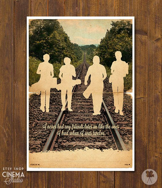 Stand by Me Movie Poster movie silhouette - Vintage Style Magazine Retro Print Cinema Studio Watercolor Background - Pick your Size