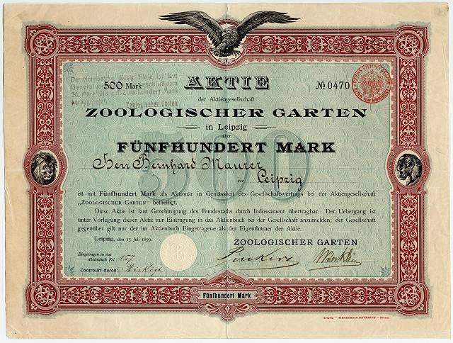 Cool ZOOLOGISCHER GARTEN IN LEIPZIG Namens Aktie ber Mark Leipzig Juli Scripophily ZOO azpartner Pinterest Zoos