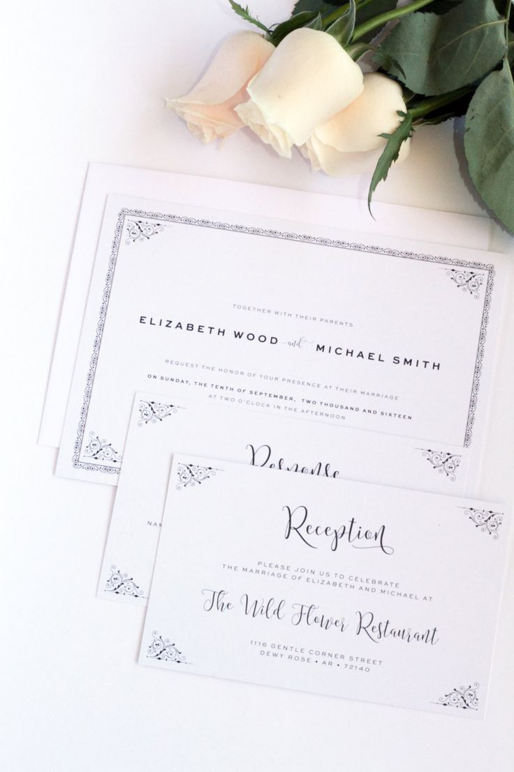wedding invitations wording quotes%0A Printable or Printed  Your Choice  Classy Wedding Invitation  Victorian  Frame  Premium Cardboard
