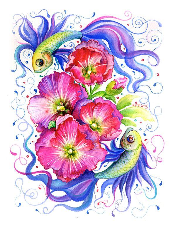 Sea Flower Watercolour Series