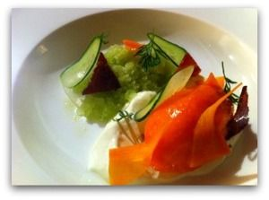 Carrot sorbet with cucumber, lemon, bacon and dill:) http://www.takeyourthyme.se