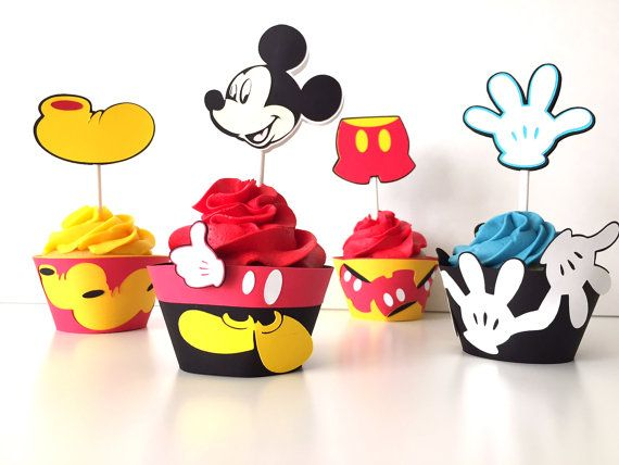 Mickey Mouse Cupcake toppers  Set of 12  Mickey by pinkskyshop