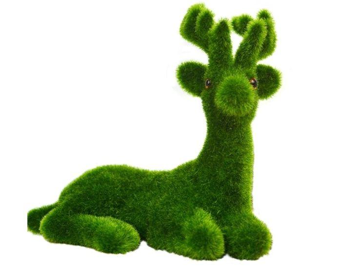 B0436 - Christmas Reindeer Laying Artificial Grass Animal Statue - 1 - B0436 - Christmas Reindeer Laying Artificial Grass Animal Statue - 1.jpg