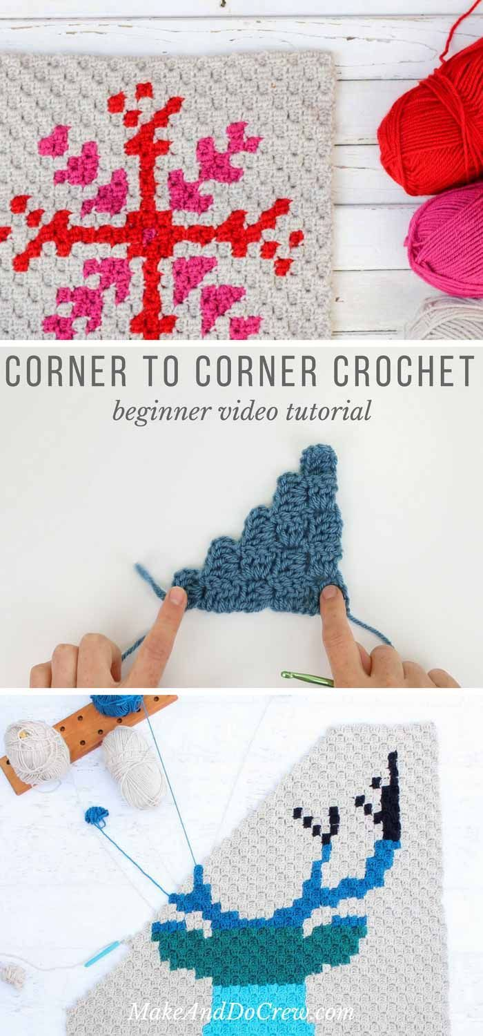 This c2c introduction is perfect for corner to corner newbies! In this corner to corner crochet video tutorial, we'll learn the basic corner to corner stitch including how to increase in c2c and how to decrease in c2c.  via @makeanddocrew