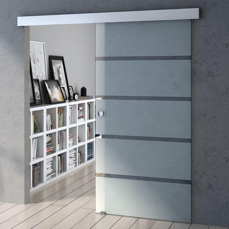 Design Glasschiebetür Amalfi Cm ESG Sicherheitsglas Teilsatiniert,  Schiebetür Glastür Zimmertür Bürotür Baumarkt   Design Glasschiebetür Amalfi