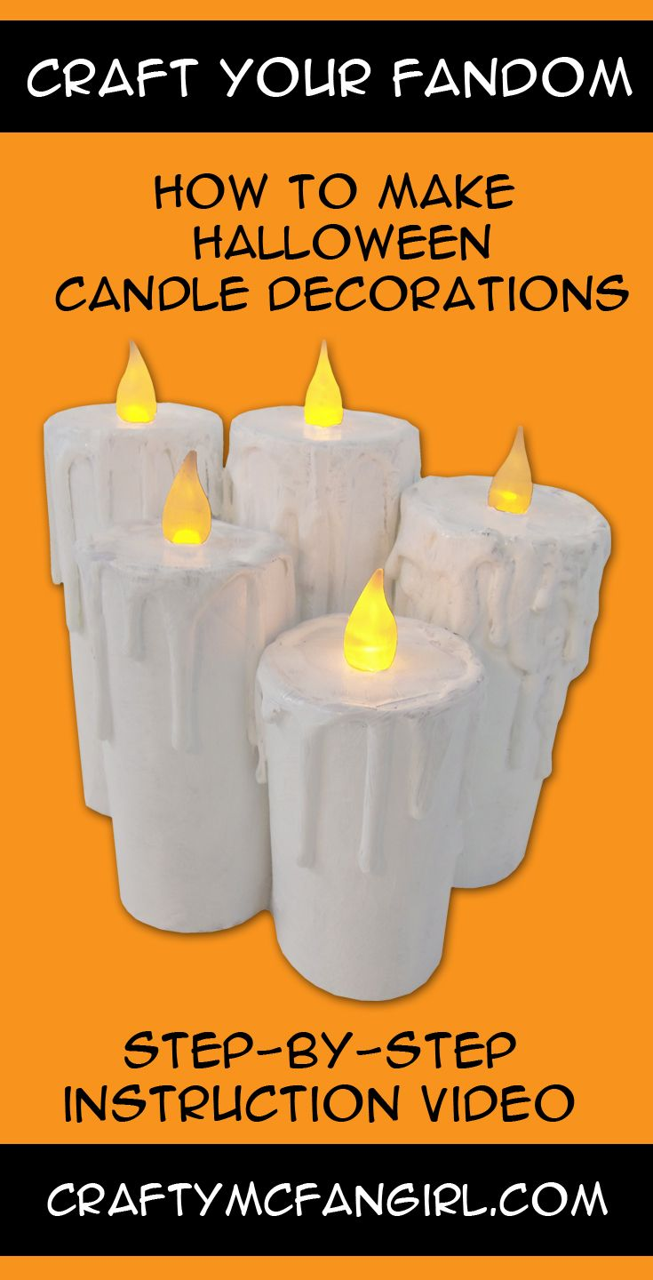 85 best craftymcfangirl com diy craft tutorials images on make these diy halloween decorations candles with recycled cardboard just add hot glue and paint