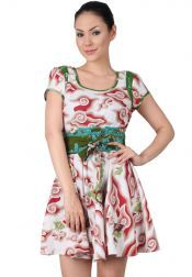 TRE Batik  TRE Batik Mini Dress Batik With Broad Shoulder Red