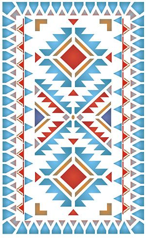 Navajo style simple border design 1 sheet stencil The North Plains Border Stencil is a simple, but distinctive border stencil, designed as a simple edging border to be used on its own or in conjunction with our other Navajo Stencils. Great on floors, panels, walls and wall hangings.  Part of the Navajo & Mexicana Stencil Range this stencil is ideal for creating on trend Native American decorating designs. Henny has taken inspiration from the Navajo First Nation textiles, rugs and horse bl...