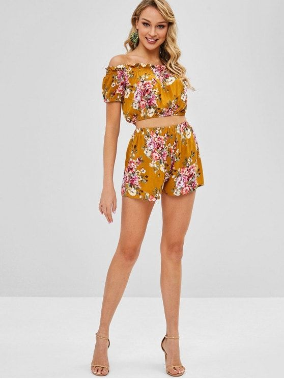 0175a53b4f067 Caramel No Summer Floral Flat Elastic High Short Off Regular Fashion Casual  and Daily and Going Smocked Floral Off Shoulder Top And Shorts Set